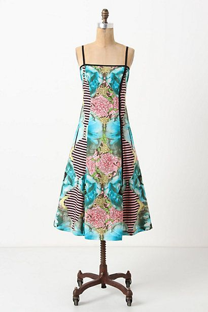 Botanical Patchwork Dress #anthropologie  This dress has great lines! Flattering for most figure types. And, it feels like Spring!