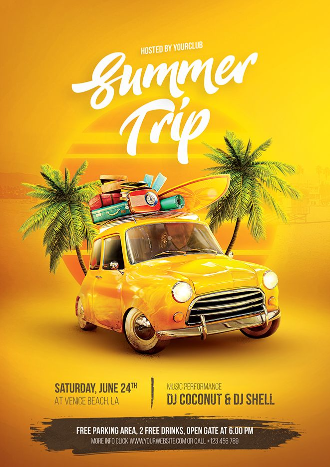 Summer Trip Flyer – A premium quality Photoshop flyer template perfect to promote your summer camp, summer party, or any summer events. Available in 2 formats, A4 & 4×6 .psd flyer, very easy to edit, and ready for print.