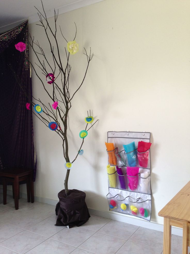'Tree' in our playroom (dead branch from an acacia in our backyard) for the kids to decorate with paper flowers for Spring. I plan to make the tree a permanent feature for us to redecorate with the seasons.