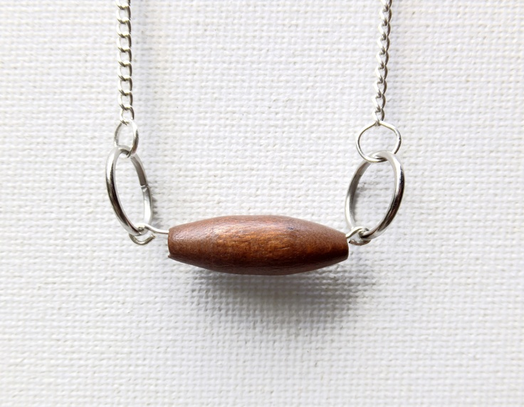 Minimal necklace with wooden tube bead and silver rings. Now available through my website www.eklecticmix.com.au