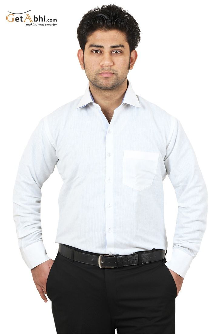http://tinyurl.com/zhb3auc Verbalise the real you when you wear out this White colored shirt. This Regular fit, #full #sleeves shirt pair with black & navy blue trouser and black formal shoes for all days comfort