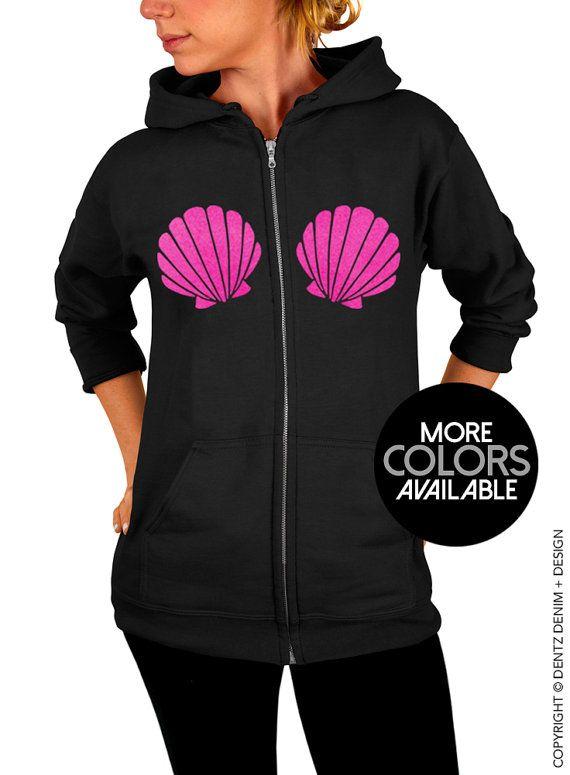 """Use coupon code """"pinterest"""" Mermaid Seashells Zip Up Hoodie - Hooded Sweatshirt - Black Zip Up Hoodie - Pink Gold Purple Ink Available by DentzDenim"""
