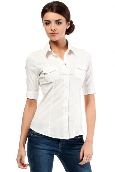 Ladies shirt with short sleeve in shades of ecru