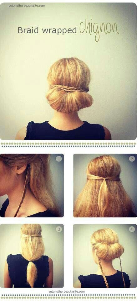 Braid wrapped chignon ♡♥