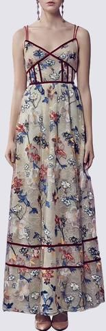 Floral-Embroidered Paneled Sleeveless Gown