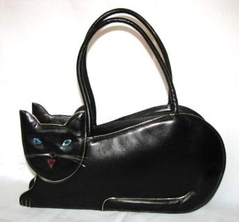 Maud Frizon Vintage Black Leather Jeweled Cat Handbag