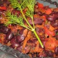 Постный овощной салат с красной фасолью – рецепт с фото