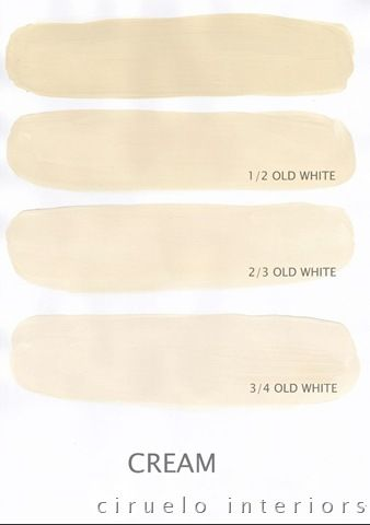 A combination of Cream & Old White Varying tints possible with Chalk Paint® decorative paint by Annie Sloan.  by Ciruelo Interiors.