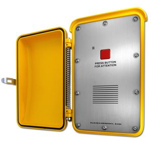1 button roadside emergency telephone, vandal resistant, aluminium enclosure, for highways and freeways.