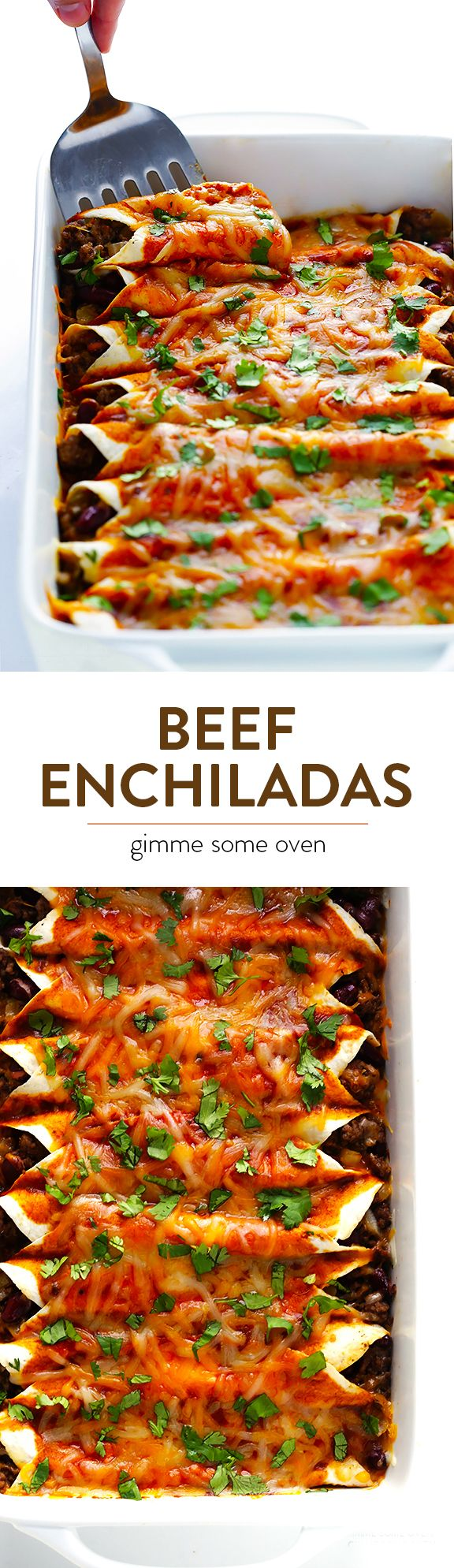 My favorite recipe for classic beef enchiladas, made with an easy homemade sauce and guaranteed to be a crowd pleaser! | gimmesomeoven.com