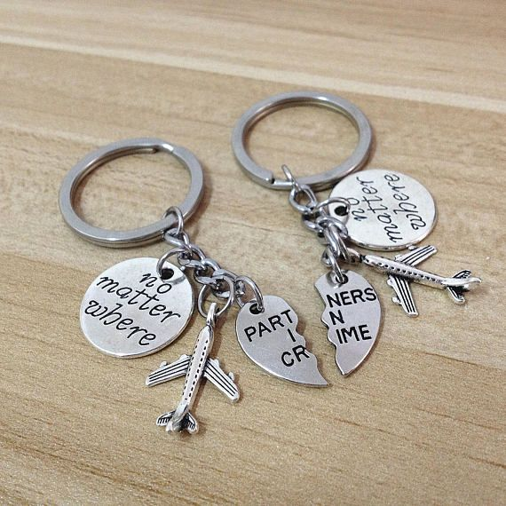 partners in crime keychain,no matter the distance, no matter what no matter where,going away gift fo