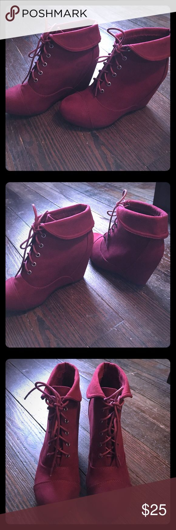 Maroon lace booties Maroon lace up booties, never worn! bamboo Shoes Ankle Boots & Booties