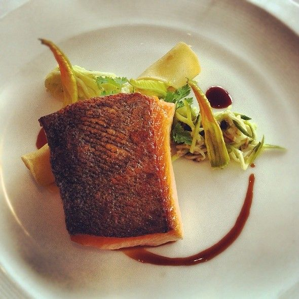 Seared King Salmon Fillet With Spanner Crab Cannelloni, Zucchini Flowers And Red Wine Butter	 	   @ Aria Restaurant Brisbane