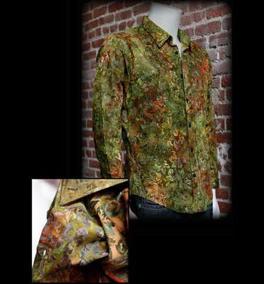 Couture: Long Sleeve Emerald Batik Shirt