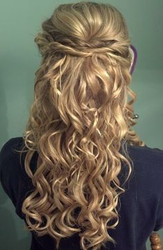 Thick messy dark brown curls with auburn strands, pinned half up with a small flower clip. Description from pinterest.com. I searched for this on bing.com/images