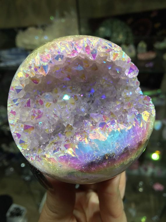 Angel Aura Amethyst, Geode Sphere Crystal, Spirit Quartz, Angel Aura, Empath Crystal Magick, Healing, AMYGS02