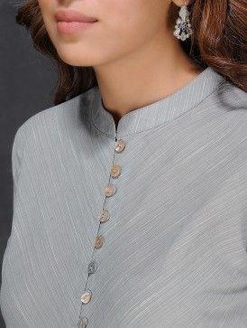 Grey-Ivory Handloom Cotton Kurta by Jaypore