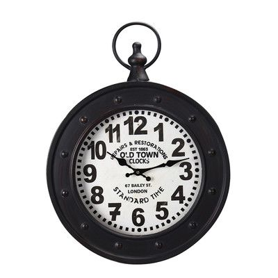 "AdecoTrading Vintage-Inspired Pocket ""Old Town Clocks"" Wall Hanging Clock & Reviews 