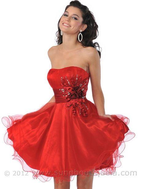 short red prom dresses