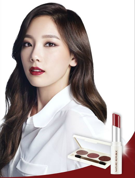 Here's how to rock the autumnal berry makeup as seen in Girls' Generation member Taeyeon's colour cosmetics campaign for popular Korean makeup brand Nature Republic.