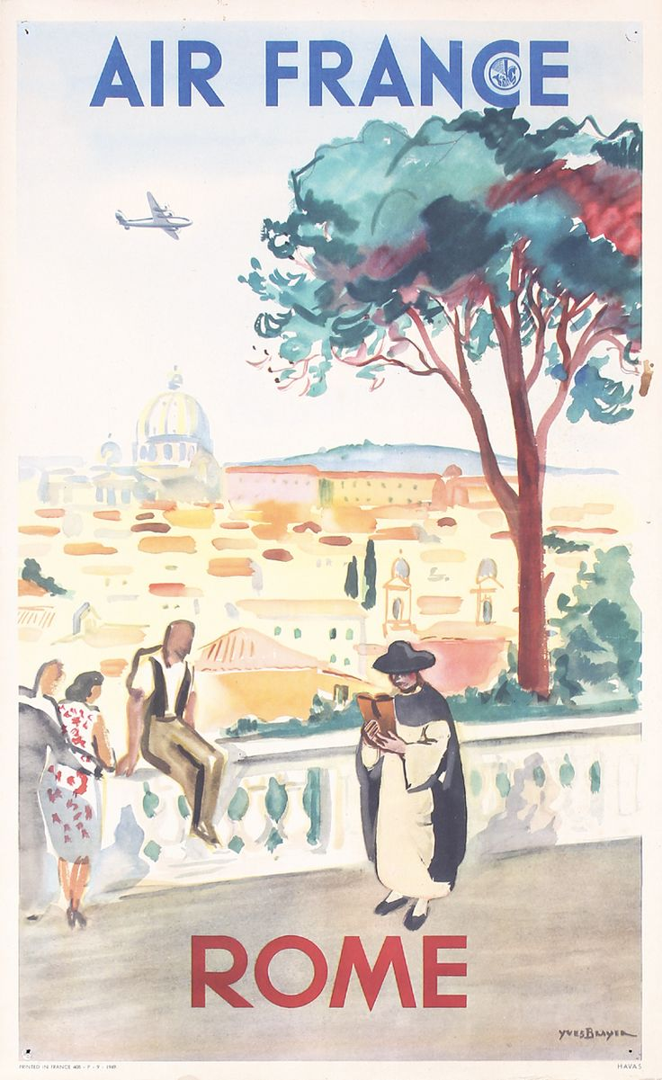 Original 1940s AIR FRANCE Airline Travel Poster ROME