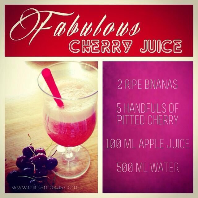 Fabulous Cherry juice. Just blend all together with some ice and enjoy a healthy refreshing summer drink.