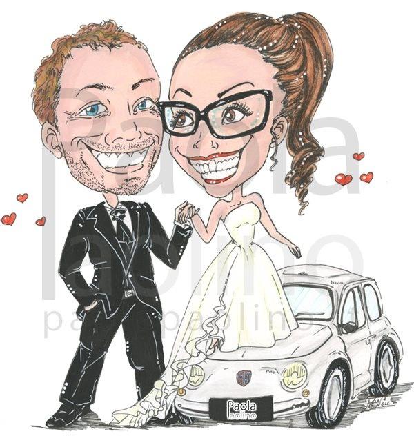 Caricatura sposi  Una simpatica caricatura con la sposa bassa e lo sposo più alto, in cui compensano la differenza d'altezza grazie ad una vecchia fiat 500! #caricatura #sposi # caricaturista #arte  #wedding #matrimonio   www.paolapaolino.it