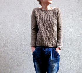 Женский пуловер регланом Aibrean, связанный спицами сверху вниз