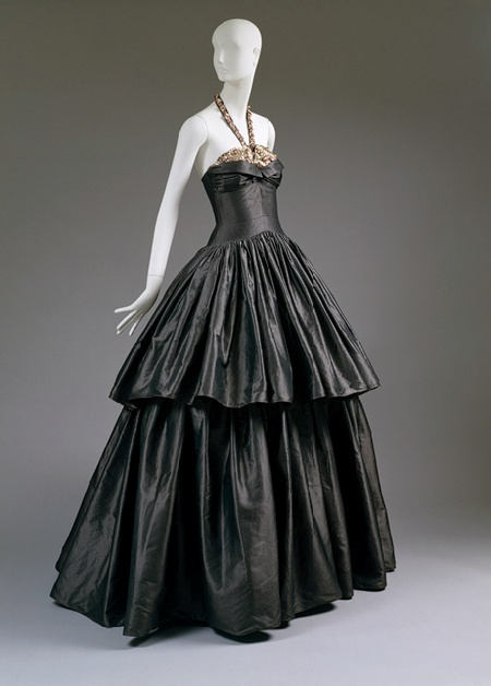 1930s Jeanne Lanvin - Steel-gray silk taffeta embroidered with metallic sequins and pink beads evening dress - The Metropolitan Museum of Art