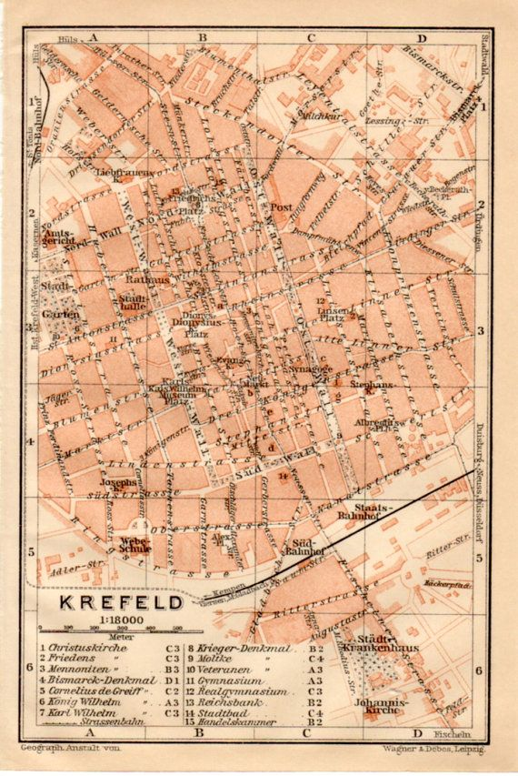 Krefeld Germany Antique Map Vintage Lithograph By Craftissimo - Germany map krefeld