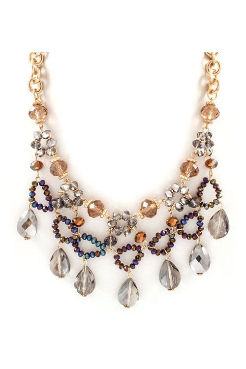 Crystal Anne Necklace in Champagne on Emma Stine Limited Adorable and would go with so many outfits.