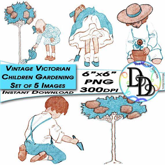 Vintage Victorian Gardening Children Kids Set of Five Clip Arts Instant Download Digital Images by DistinctlyDigital on Etsy