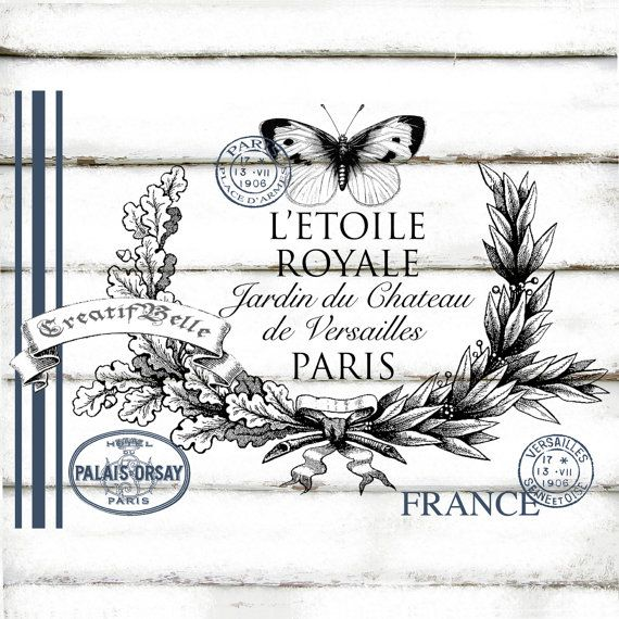 French Vintage Rustic Style Blue Grain Sack Wreath Postage Stamps Butterfly Large A4 Instant Digital Download Printable Graphic Transfer