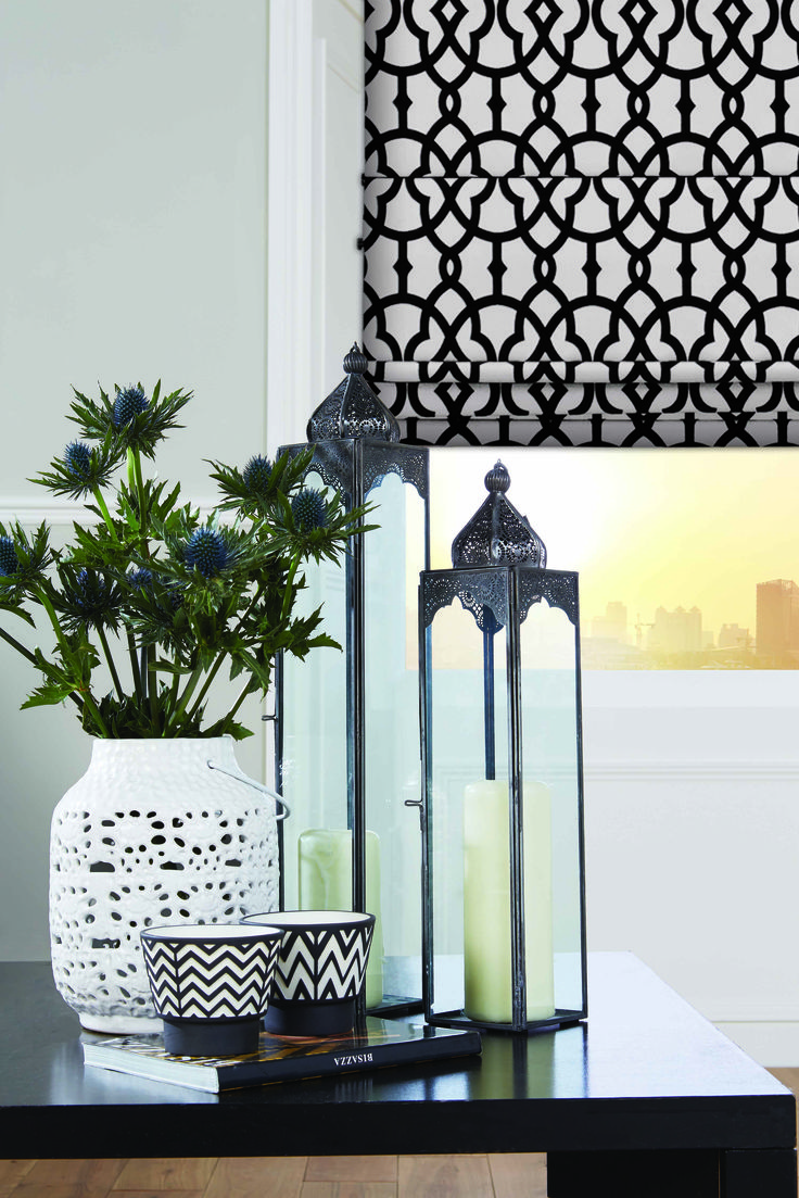 Products rollers in vogue blinds - Black And Cream Roman Blinds