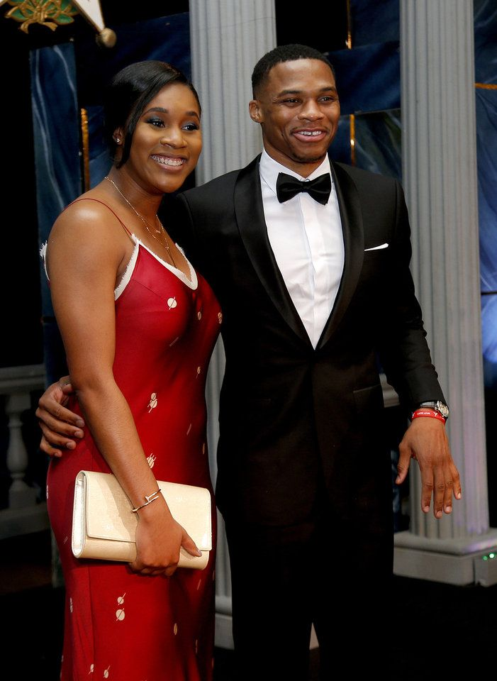 Russell Westbrook takes a photo wit his wife Nina Westbrook before the induction ceremony for the Oklahoma Hall of Fame at the Cox Convention Center in Oklahoma City in Oklahoma City, Thursday, Nov. 17, 2016. Photo by Sarah Phipps, The Oklahoman