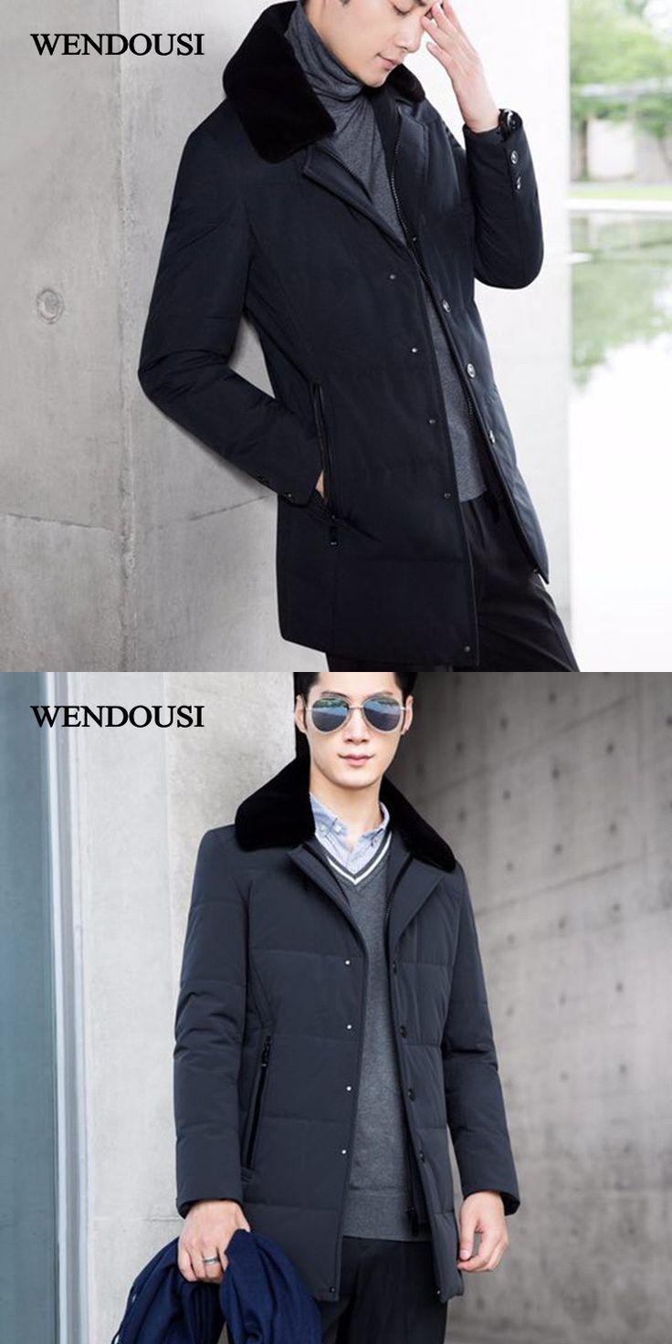 WENDOUSI Men Down Jacket Coat Big Size Winter Fur Collar Jacket Men Long Parka Chaquetas Hombre Down Coat Man Detachable HS7999