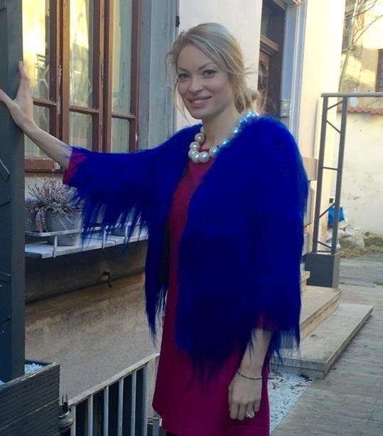 Valentina Pelinel looking great in this exquisite blue goat fur coat