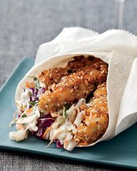 """Hot-and-Crunchy Chicken Cones..fried chicken coated in an ingenious mix of cornflakes, slivered almonds and sesame seeds, then wrapped in a tortilla with a mango-jalapeño slaw and a spicy ancho """"paint."""""""