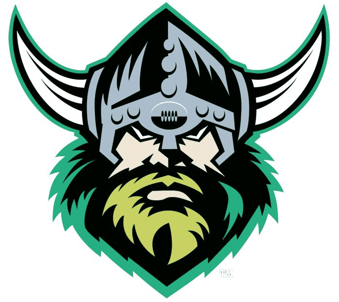 Canberra Raiders Primary Logo (1998) - A viking head wearing a silver helmet, outlined in green