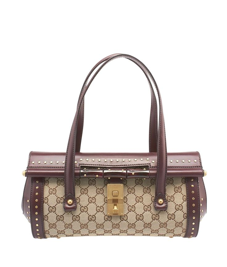 Gucci Burgundy & Beige GG Canvas & Leather Satchel