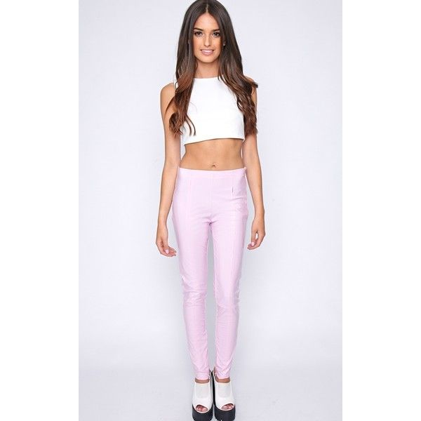 Cyra Pink PVC Trouser (€14) ❤ liked on Polyvore featuring pants, pink, pvc pants, pink trousers, pink pants, purple pants and pvc trousers