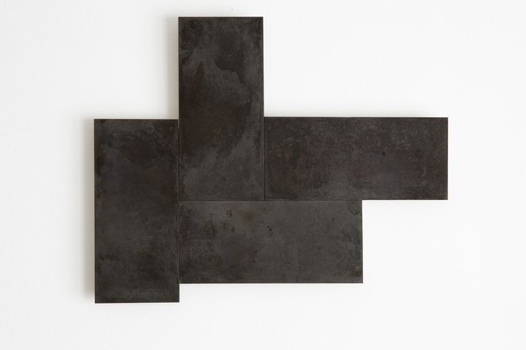 Stephen Bambury, Seven Days (VI), 2014, chemical action on four brass plates, 260 x 321 mm