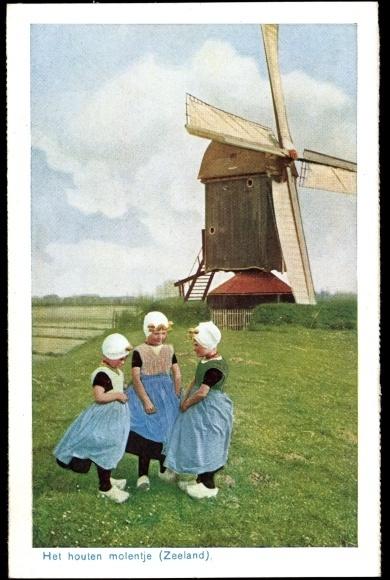 ♥Postcard Zeeland, Het houten molentje, Volkstrachten Niederlande, Windmühle