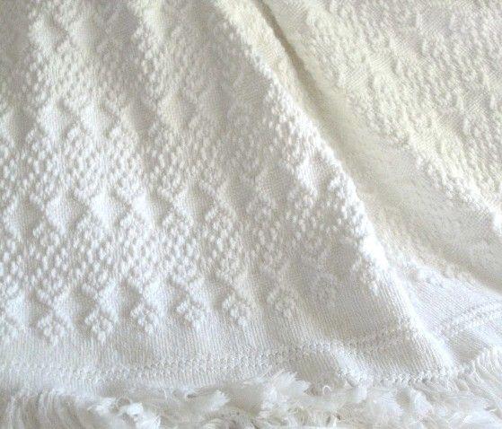 "Monk's cloth white on white afghan. ""Friendship's Garden"" Sandra's Stitches"
