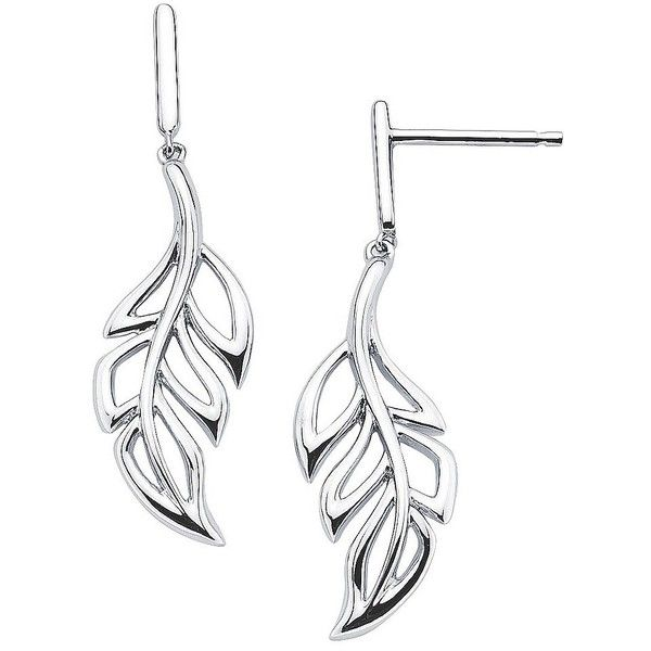 She Sterling Silver Artistic Leaf Design Fish Hook Earrings-Silver (€48) ❤ liked on Polyvore featuring jewelry, earrings, sterling silver fish hook earrings, leaf jewelry, sterling silver jewelry, leaves jewelry and earring jewelry