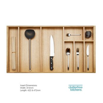 A stylish wood cutlery tray never goes out of fashion. Sustainable European oak – this is the perfect wooden cutlery drawer organiser for your kitchen