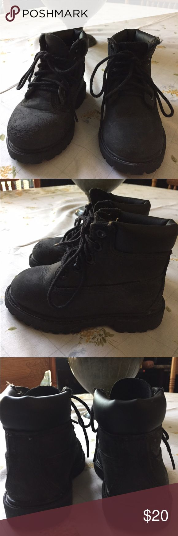 Black Timberland Boots Size 7.   Timberland Black Child's Boots. In Great Condition Except For Scratched Front Right Shoe ( Shown In Last Photo) Timberland Shoes Boots
