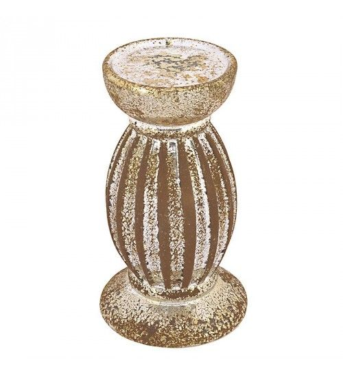 STONEWARE CANDLE HOLDER IN SILVER_BROWN COLOR 11Χ11Χ20