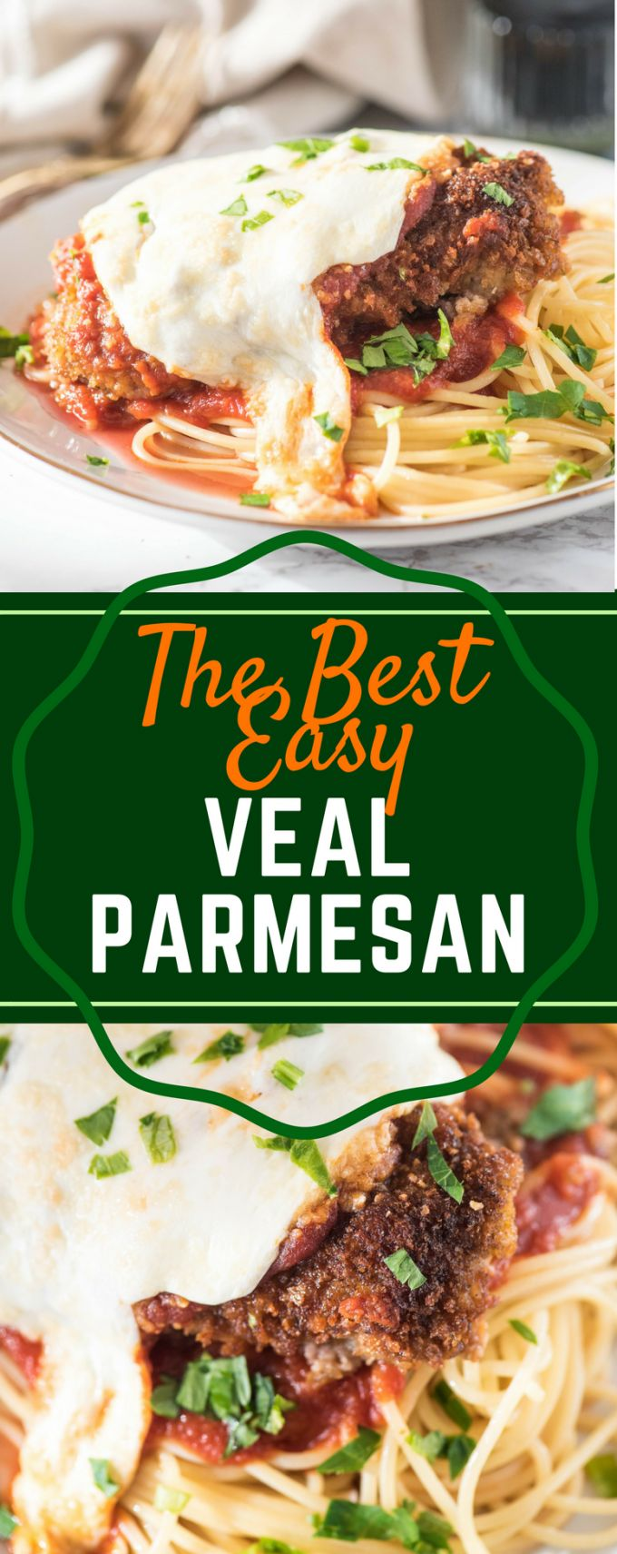 This is the BEST easy Veal Parmesan recipe! Pan fried and then baked to perfection, this recipe could not be more simple. Parmigiana is a fast weeknight meal that is authentic Italian! #vealparmesan #vealparmigiana #authenticitalianrecipes #easyweeknightdinners #gogogogourmet