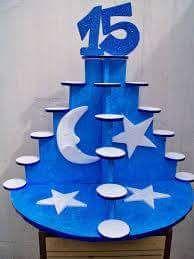 Maqueta para velas de 15 años en azul y plateado